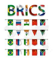 BRICS . association of 5 countries  brazil . russia . india . china . south africa  . and various shape nation flag of country membership hanged on pole and world map background . Vector .