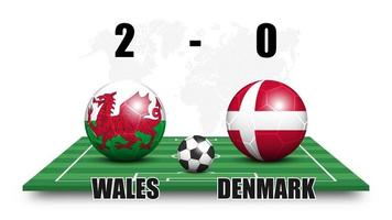 Wales vs Denmark . Soccer ball with national flag pattern on perspective football field . Dotted world map background . Football match result and scoreboard . Sport cup tournament . 3D vector design .