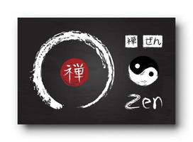 Enso zen circle with kanji calligraphy  Chinese . Japanese  alphabet translation meaning zen . Yin and yang symbol . Black color chalkboard background with old scratch texture . Vector illustration .