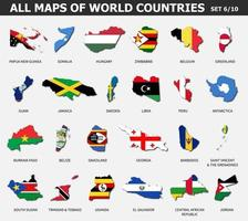 All maps of world countries and flags . Set 6 of 10 . Collection of outline shape of international country map with shadow . Flat design . Vector .