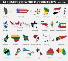 todos los mapas de países y banderas del mundo. conjunto 7 de 10. colección de forma de contorno del mapa internacional del país con sombra. diseño plano . vector. vector