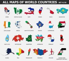 All maps of world countries and flags . Set 4 of 10 . Collection of outline shape of international country map with shadow . Flat design . Vector .