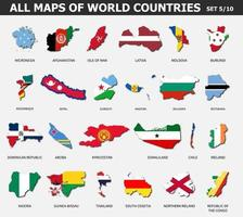 All maps of world countries and flags . Set 5 of 10 . Collection of outline shape of international country map with shadow . Flat design . Vector .