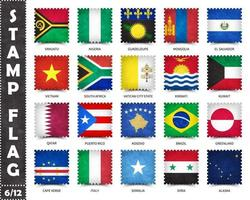 Stamp with official country flag pattern and old grunge texture and countries name . Square shape . Vector . Set 6 of 12 on this series . All national flags of the world  .