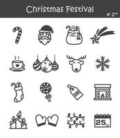 Christmas festival icon set vector