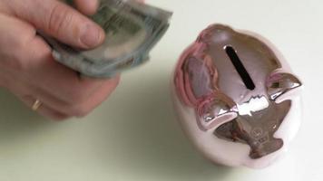 alcancía cerdo rosa inversiones y hombre de negocios y dinero video