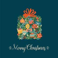 Christmas and Happy New Year illustration with Christmas box. Vector design template.