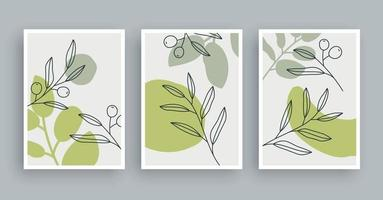 Botanical wall art painting background. Foliage art and hand drawn line with abstract shape. Mid century scandinavian nordic style. vector