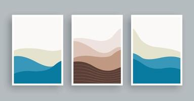 Abstract landscapes mountains wall art painting. Minimalist shape elements hand drawn background. vector