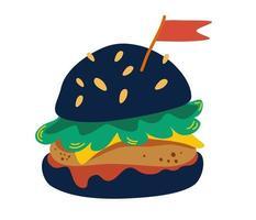 Burger on black bun. Black burger with cutlet, cheese, tomato, lettuce and a flag. Flat design for menu cafe, restaurant, poster, sticker. Hamburger. Vector flat illustration.