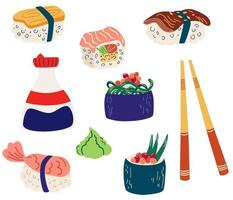 Set of sushi and rolls. Gunkan and inari sushi with shrimp, salmon or eel nagiri. Soy sauce in a bottle, wooden sticks. Japanese cuisine cooking. Restaurant food. Vector flat illustration.
