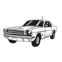 Vintage car classic art black and white vector