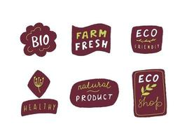 Eco badge set in handraw style. Organic logo. Vegan product labels, natural food and eco vegetables badges, fresh and healthy product stickers. Vector illustration
