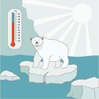 un oso polar se encuentra en un témpano de hielo en el Ártico. concepto de calentamiento global y cambio climático. el medidor de temperatura muestra una temperatura alta. ilustración vectorial vector