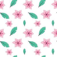 Seamless pattern with tropical leaves and flowers on a white background. Vector endless texture in cartoon style with thin strokes