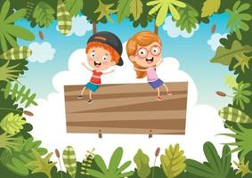Happy Kids Swinging With Root Rope In Jungle vector