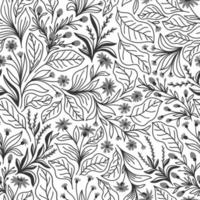 White seamless background with gray flowers and leaves vector