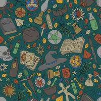 GREEN SEAMLESS BACKGROUND WITH COLORFUL OBJECTS FOR MAGIC vector