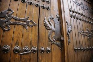 Medieval wooden door photo