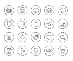Thin line web icons set on white vector
