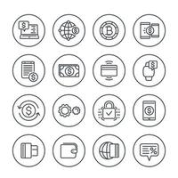 Payment methods and internet banking icons set on white in linear style vector