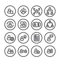 hr line icons set on white vector