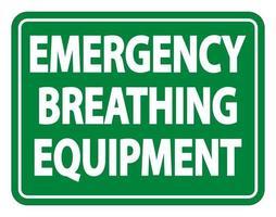 Signo de equipo de respiración de emergencia sobre fondo blanco. vector