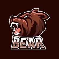 Bear esport gaming mascot logo template vector