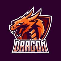 Dragon esport gaming mascot logo template vector