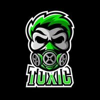 Toxic skull mask sport or esport gaming mascot logo template vector