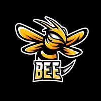 Bee animal esport gaming mascot logo template vector