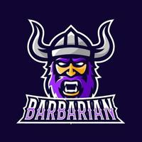 Barbarian viking sport or esport gaming mascot logo template vector