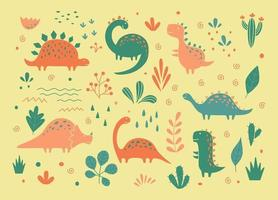 Cute dinosaurs and tropic plants in outline sketchy style. Funny cartoon dino set. Hand drawn vector doodle set for kids