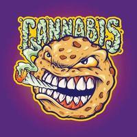 Snack Cookies Smoke Cannabis Mascot vector