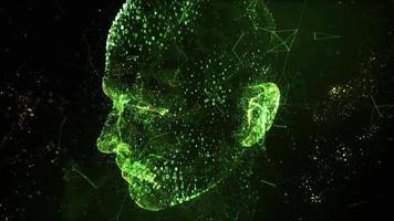 digitales menschliches Kopfscan-Videokonzept 3D-Technologie Internet hd video