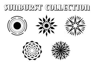 Collection Of Retro Sunburst. Vintage Light Rays. vector