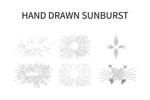 Set Of Hand Drawn Sunburst Vector eps 10