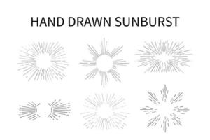 Hand Drawn Sunburst Set vector