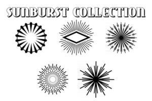 Retro sunburst. Elegant radiant sun rays lines. Vintage sunshine bursting circles, burst line abstract vector set