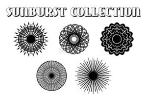 Black Burst Rays Collection vector
