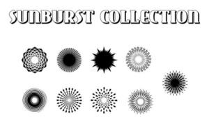 Sunburst set. Sunburst icon collection vector