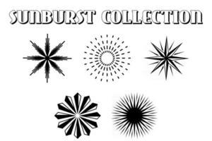 Set of vintage sunburst. Geometric shapes vector