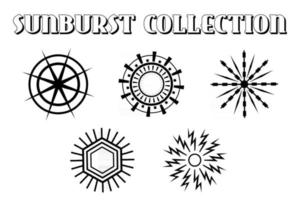 Set of light rays, sunburst and rays of sun. Design elements, linear drawing, vintage hipster style. vector