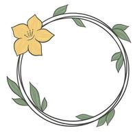 Circular frame with leaves and flower vector