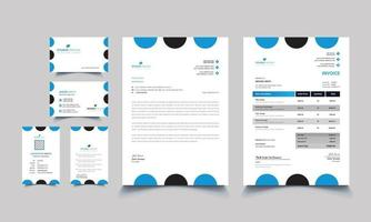 Modern blue professional business office stationery set vector