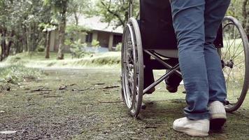 primer plano, de, nieta, empujar, abuelo, en una silla de ruedas video