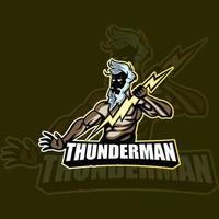 Thunder man mascot logo design vector