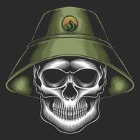 Skull bucket hat vector illustration