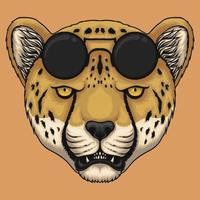 Cheetah head eyeglasses vector illustration