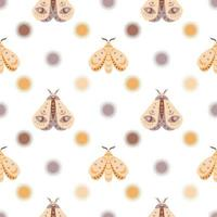 Magic seamless pattern  boho butterfly, moth with sun, moon, star,eye isolated on white background. Vector flat illustration. Bohemian design for wrapping, textile, wallpaper, backdrop, packaging